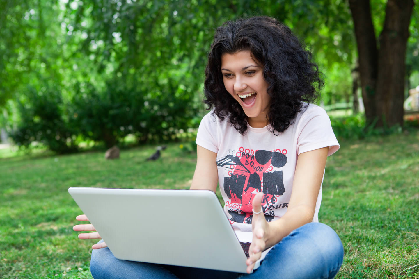 Girl with a laptop outside